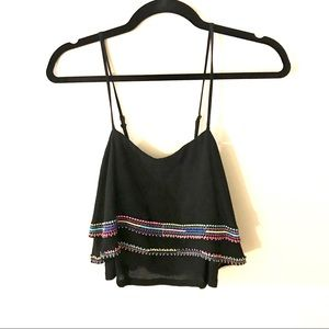 LuluMari Apricot Lane Black Boho Crop Top. NWT